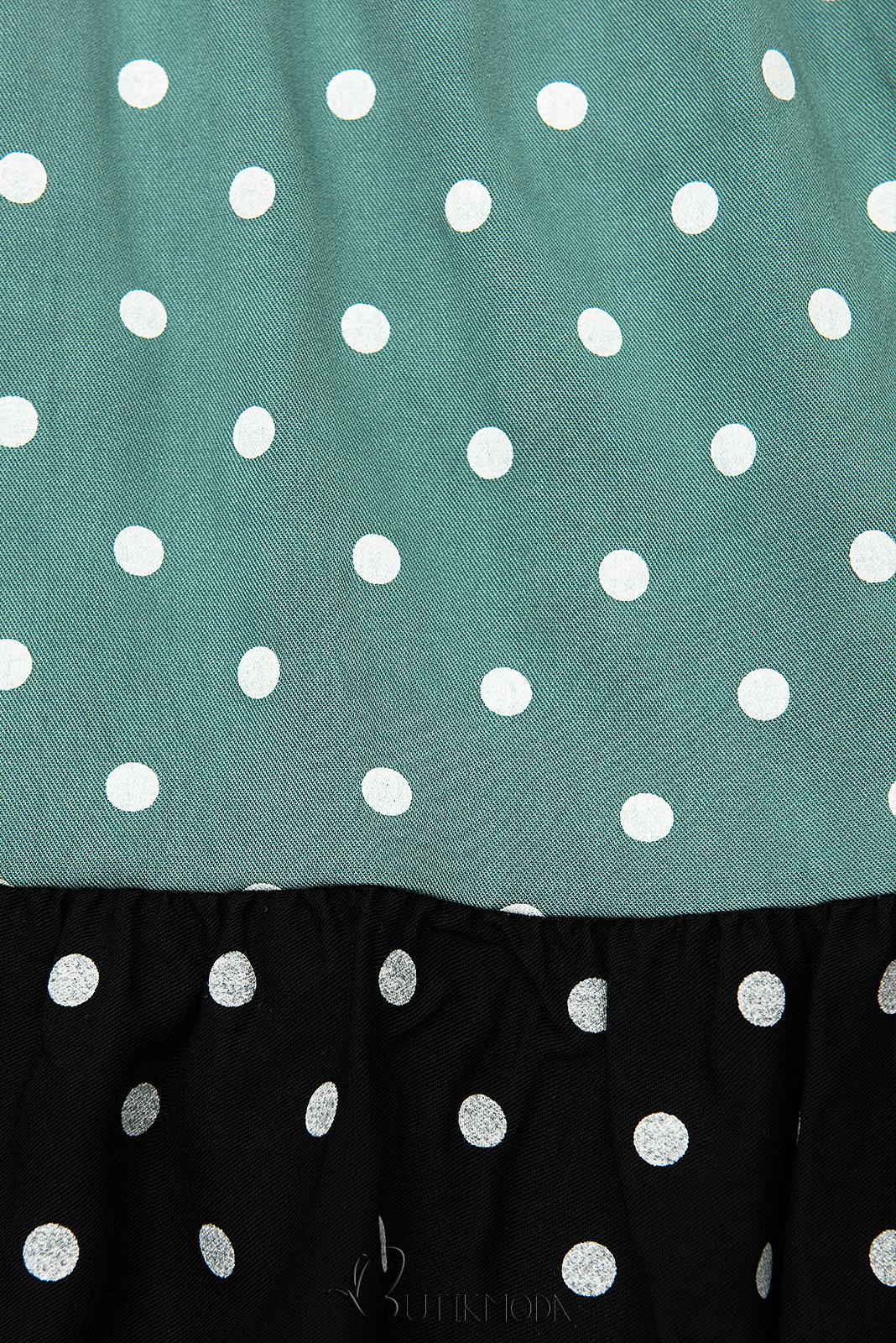 Rochie cu buline din viscoză albă/mentă/neagră