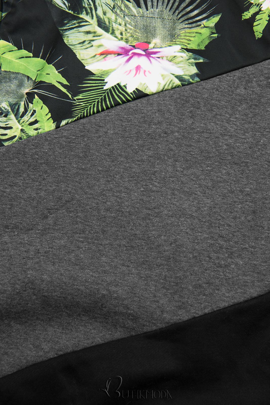 Hanorac floral antracit/negru