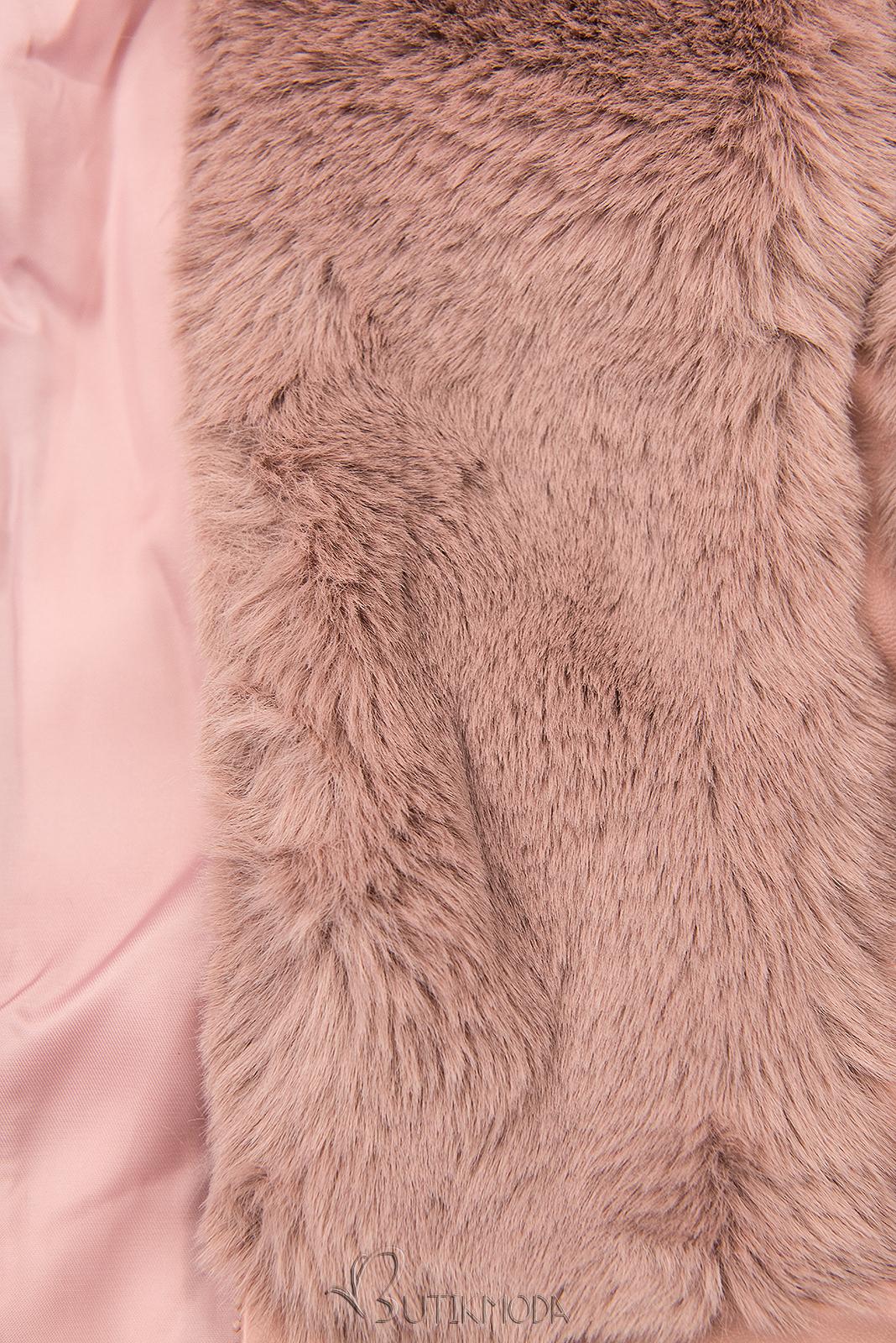 Vestă de blană roz prăfuit cu curea