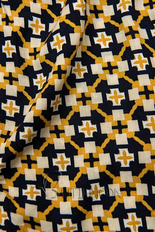 Pantaloni scurți albastru-galben cu imprimeu