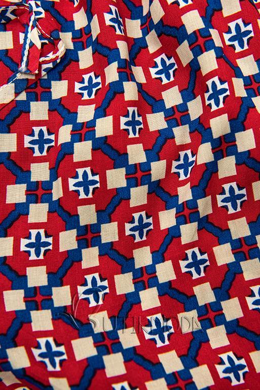 Pantaloni scurți roșu-albastru cu imprimeu