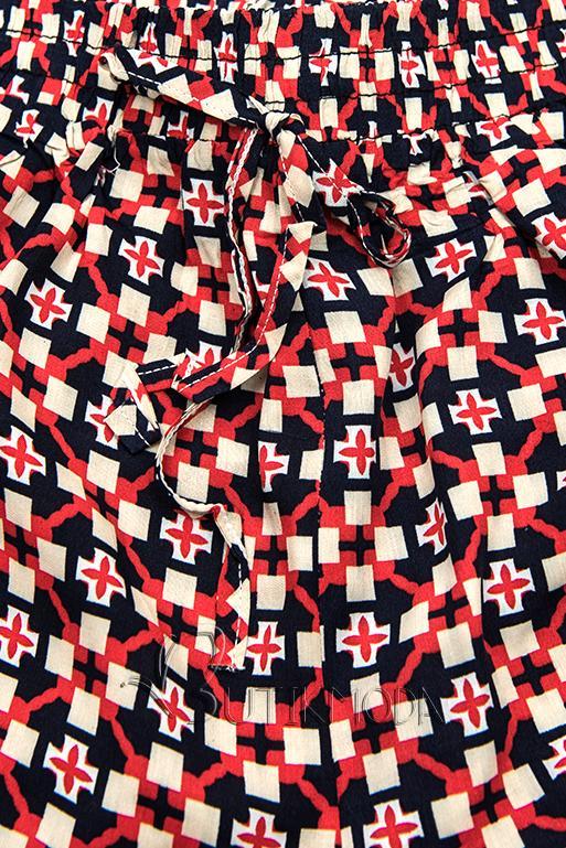 Pantaloni scurți albastru-roșu cu imprimeu