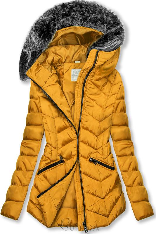 Geacă galbenă matlasată de iarnă cu blană artificială