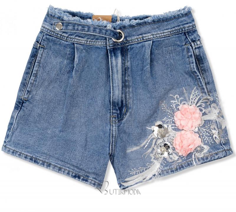 Pantaloni scurți din denim cu aplicație florală
