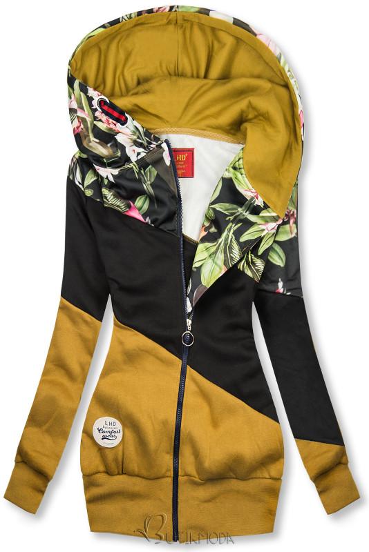 Hanorac floral muștar/negru