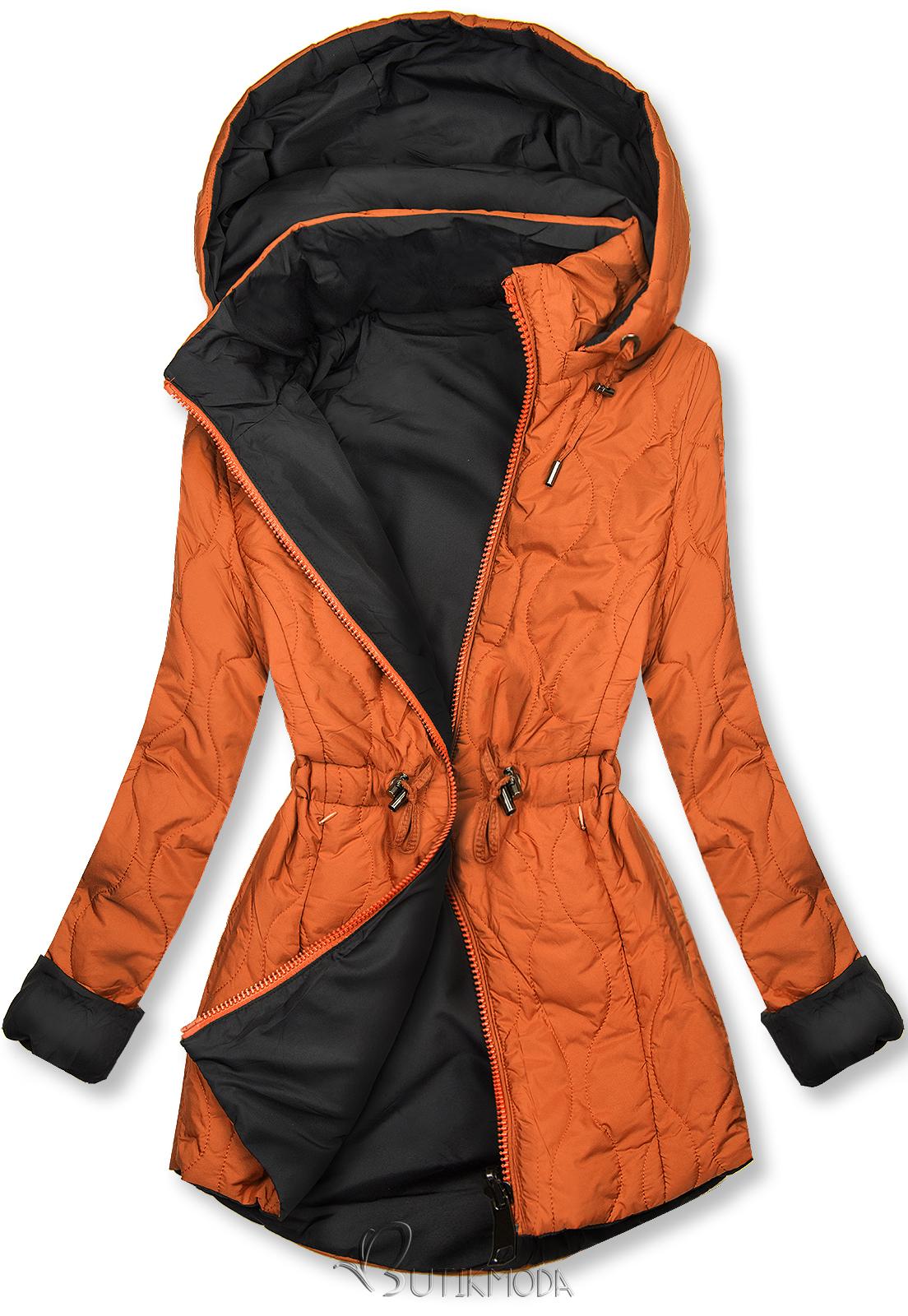 Parka de toamnă matlasată portocaliu/negru