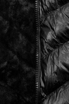 Geacă scurtă de iarnă neagră cu blană neagră
