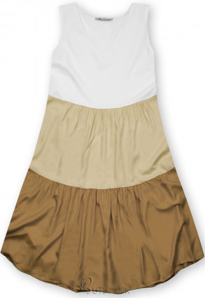 Rochie de vară din viscoză albă/bej/maro