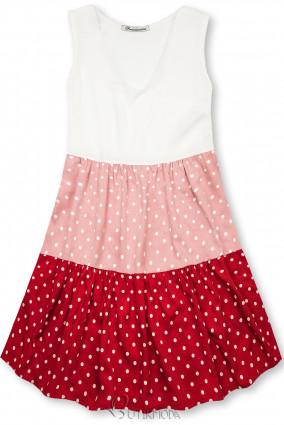 Rochie cu buline din viscoză albă/roz/roșie