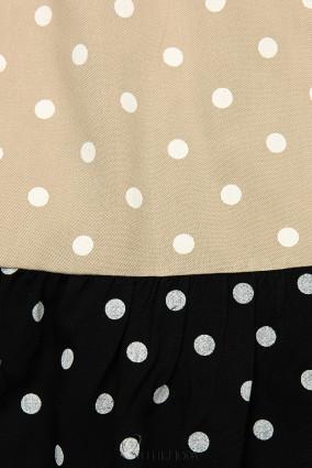 Rochie cu buline din viscoză albă/bej/neagră