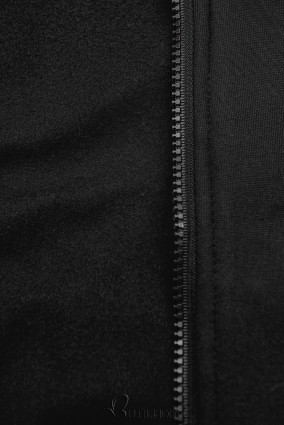 Hanorac prelungit negru cu căptușeală colorată
