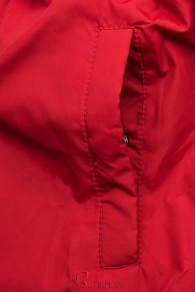 Parka de toamnă matlasată negru/roșu