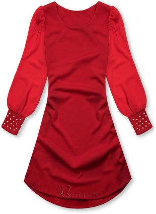 Rochie elegantă roșie cu croială în-A