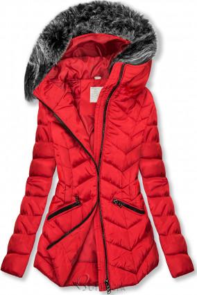 Geacă roșie matlasată de iarnă cu blană artificială