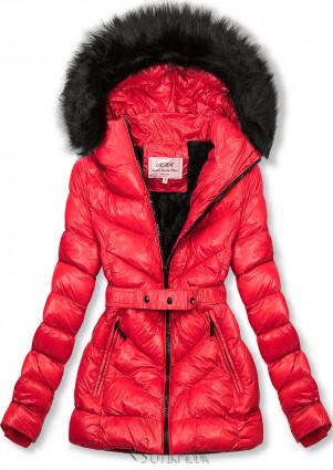 Geacă scurtă de iarnă roșie cu blană neagră