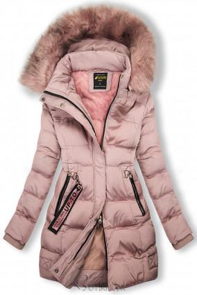 Geacă de iarnă roz vechi cu blană roz