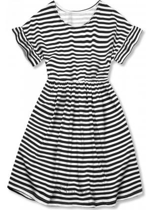Rochie negru-alb evazată cu dungi II.