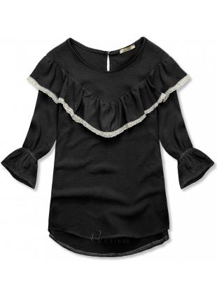 Bluză neagră cu volănaș