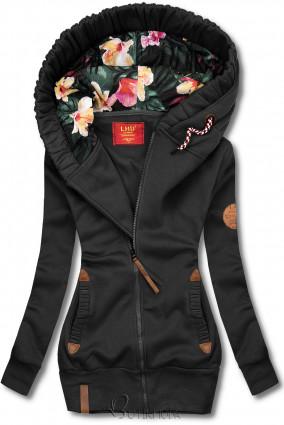 Hanorac negru cu căptușeală florală