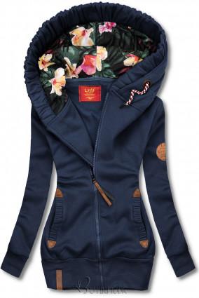 Hanorac bleumarin cu căptușeală florală