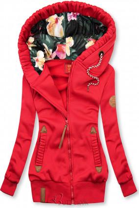 Hanorac roșu cu căptușeală florală